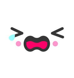 Sobbing kawaii cute emotion face emoticon vector