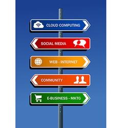 Social media plan road post vector image