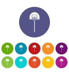 Street basketball hoop set icons vector