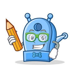 Student with pencil pencil sharpener character vector