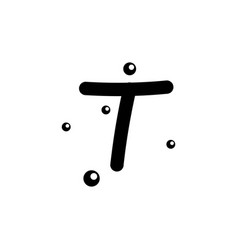 T hand drawn alphabet design template vector