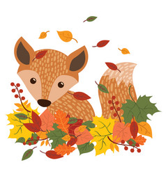 the fox is sitting in the fallen leaves a cartoon vector image