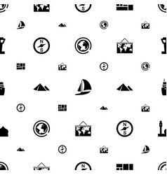 Travel icons pattern seamless white background vector
