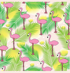 tropical seamless pattern with hand drawn flamingo vector image
