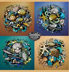 Underwater life cartoon doodle vector