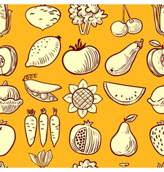 Vegetables and fruits seamless pattern vector