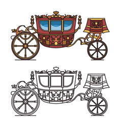 vintage carriage contour chariot outline for king vector image