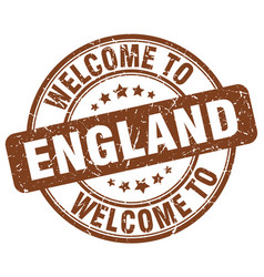 welcome to england brown round vintage stamp vector image