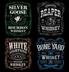 Whiskey label t-shirt graphic set vector