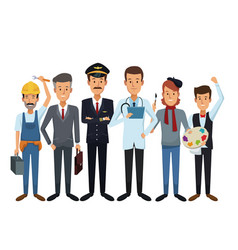 white background with group male people of vector image