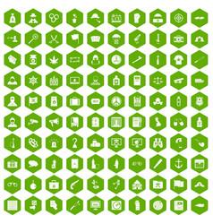 100 crime investigation icons hexagon green vector