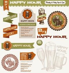 beer happy hour design elements vector image vector image
