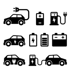 Electric Car Icons Set on White Background vector image vector image