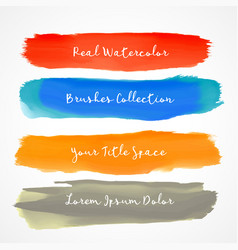 four real watercolor brush stroke set vector image