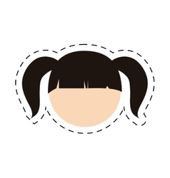Head girl daugther kid with cut line vector