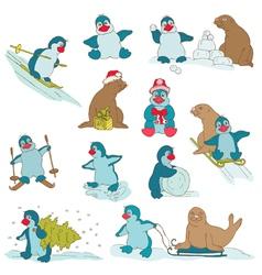 Penguins - Christmas Set vector image vector image
