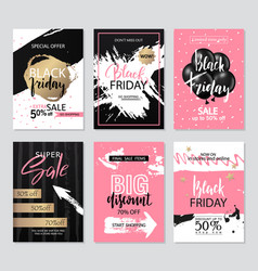 set of sale banners with grunge elements brush vector image