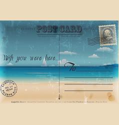 Vintage summer vacation postcard vector image vector image