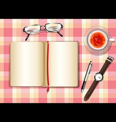 A topview of a table with different objects vector image vector image
