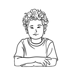 contour picture of a boy schoolboy with curly vector image vector image