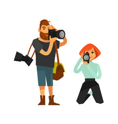 photographer man and woman journalist or paparazzi vector image