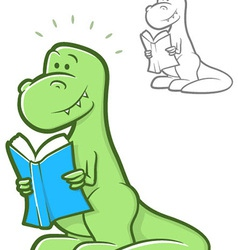 Reading Dinosaur vector image vector image