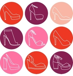 set of 9 woman shoes icons vector image
