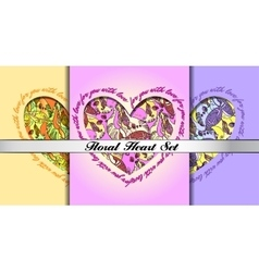 Set of decorative hearts with floral ornament vector image