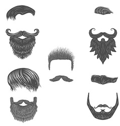 set of hairstyles beards vector image vector image