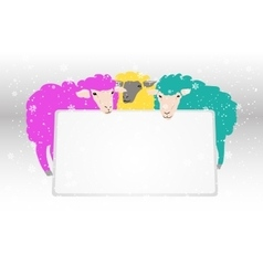 Banner with sheeps vector image vector image