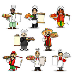 Chefs icons and restaurant menu vector