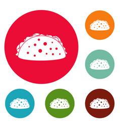 tacos icons circle set vector image vector image