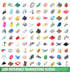 100 internet marketing icons set vector image vector image