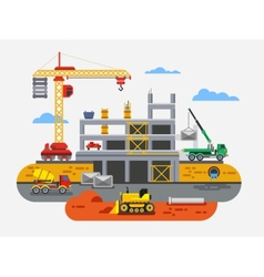 Building Construction Flat Design Concept vector image vector image