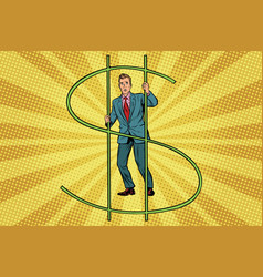 businessman behind bars money vector image