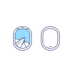 Closed and open airplane window icons set vector image