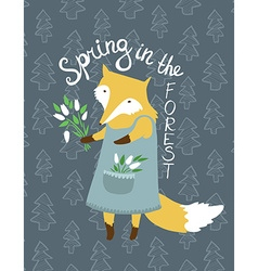Cute card with fox and flowers Bright can be used vector image vector image
