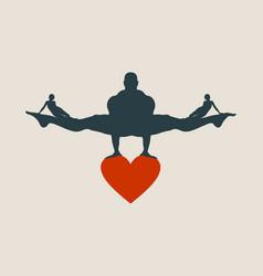 Muscular man balancing on heart icon vector