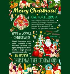 santa with christmas tree and gift greeting banner vector image