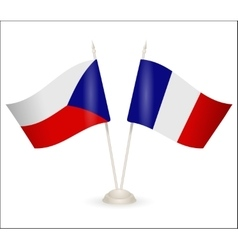 Table stand with flags of France and Czech vector image