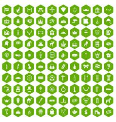 100 crown icons hexagon green vector