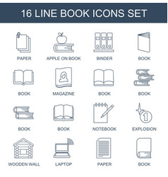 16 book icons vector