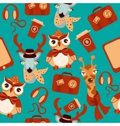 Animal hipsters seamless background vector image