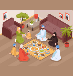 Arab family meal vector