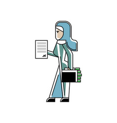 arabic woman with contract and suitcase vector image
