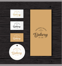 Bakery logo identity package vector