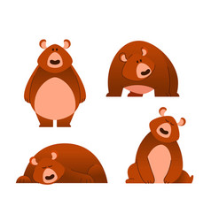 bear - modern set of flat cartoon animal vector image