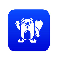 Beaver icon blue vector