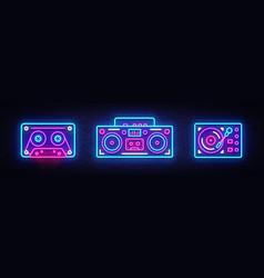 Big collection neon sing retro music neon symbols vector
