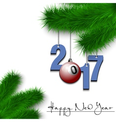 Billiard ball and 2017 on a Christmas tree branch vector image